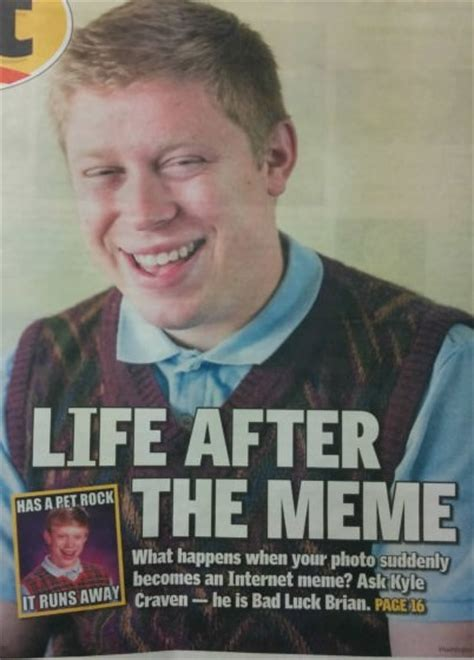 Bad News Brian Meme - bad luck brian