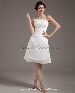 allens bridal chiffon strapless knee length a line With knee length wedding dresses