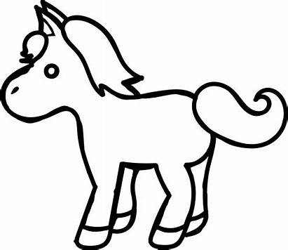Horse Coloring Pages Cartoon Pony Printable Simple