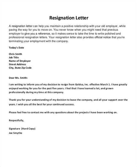 resignation letters  pointers  writing