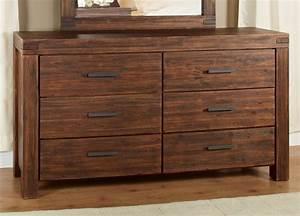 Modus Meadow Six Drawer Solid Wood Dresser in Brick Brown