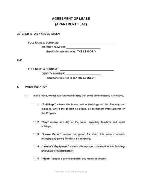 Rent To Buy Agreement Template Residential Lease Agreement Template Formfactory