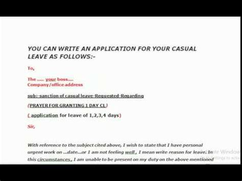 application letter  casual leave assignment point