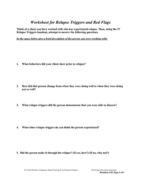 19 best images of relapse prevention plan worksheet