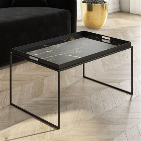Not only do they anchor your space, but they offer room this collection delivers a rustic yet natural look. Large Black Tray Coffee Table with Gold Marble Design - Lux LUX002   eBay