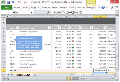 sle investment portfolio templates free financial portfolio template for microsoft excel 2013