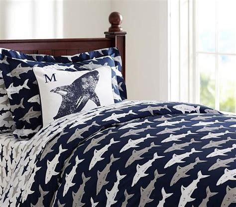 shark crib bedding preppy blue and white shark duvet cover