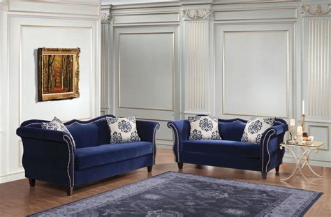 zaffiro royal blue living room set sm sf furniture
