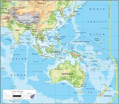 Asia Map Pacific Physical Graphic