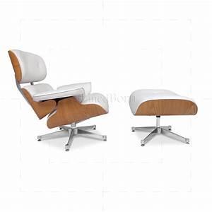 Eames Lounge Chair Replica : eames style lounge chair and ottoman white leather ash ~ Michelbontemps.com Haus und Dekorationen
