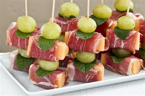prawn cocktail canapes prosciutto wrapped melon roti n rice