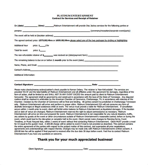 dj contract template 16 sle best dj contract templates to sle templates