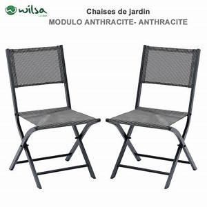 Chaise De Jardin Grise : chaises de jardin pliantes modulo grise lot de 2 ~ Teatrodelosmanantiales.com Idées de Décoration