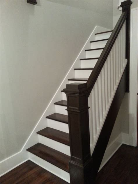 staircase dark refinishing stairs stain walnut stains stair risers painted staircases banister railings finish refinish antique wood railing staining stairways