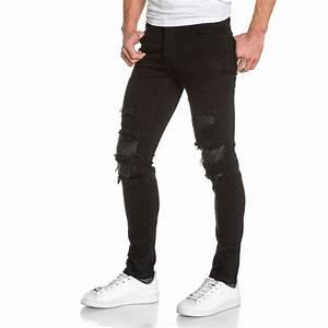 Jean Slim Noir Homme : jeans slim noir troue homme jeans noir homme destroy troue ~ Voncanada.com Idées de Décoration