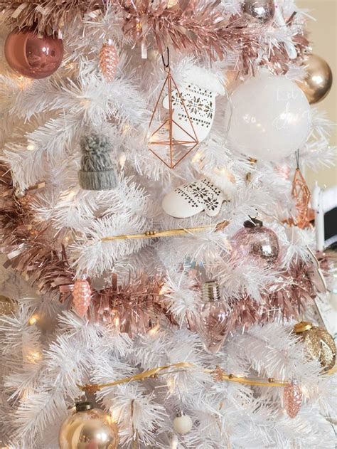 white christmas tree  rose gold  pink decorations
