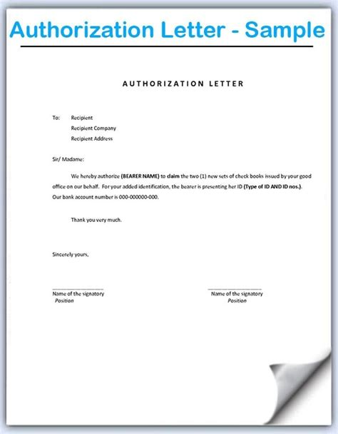 authorization letter deposit cash format sample