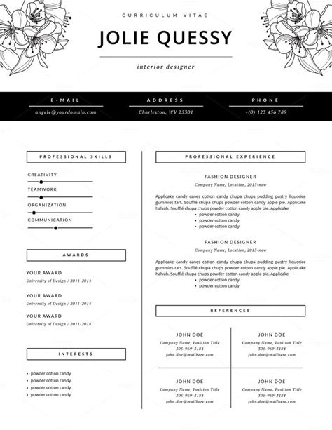 20722 designer resume templates best 25 fashion resume ideas on fashion cv