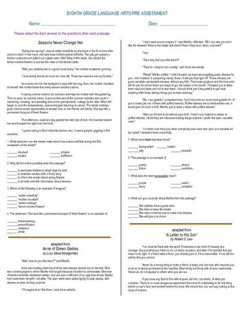 printables 9th grade language arts worksheets mywcct