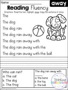 reading and comprehension free kindergarten reading fluency and comprehension set 1 language arts reading