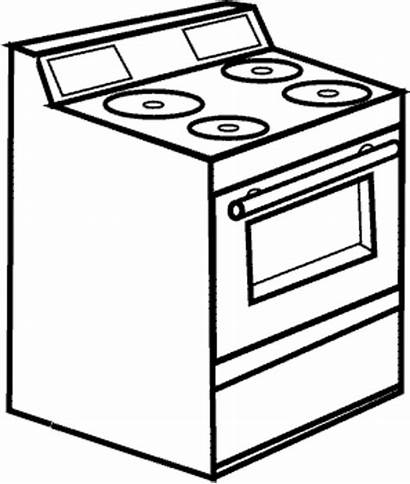 Stove Coloring Drawing Clipart Pages Oven Colouring
