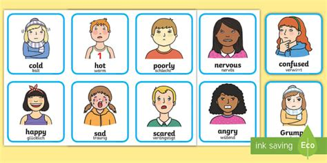Feelings And Emotions Cards Englishgerman  Feelings And