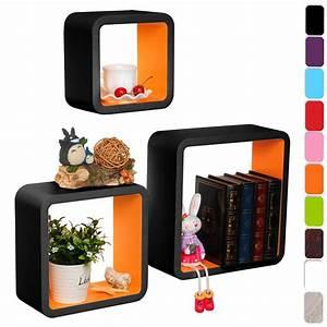 Etagere Murale Livre : lot de 3 tag re murale en mdf pour livres cd dvd tag re de mini petit pot f122 ebay ~ Teatrodelosmanantiales.com Idées de Décoration