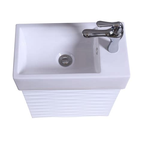 Small Vanity Cabinet by 18 Quot Small Bathroom Sink Vanity Cabinet White Rippled