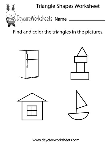 triangle shapes worksheet  preschool