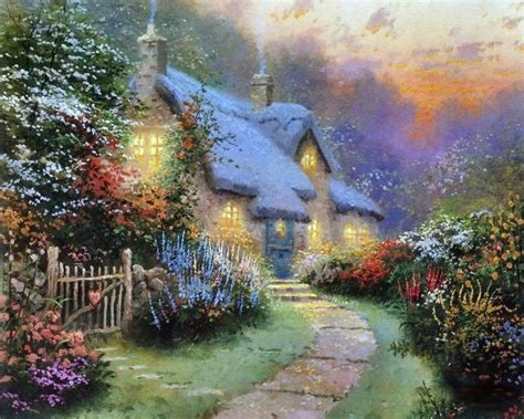 The Cottage Painting by Cottage Beautiful Cottage Flowers Painting Way 41274