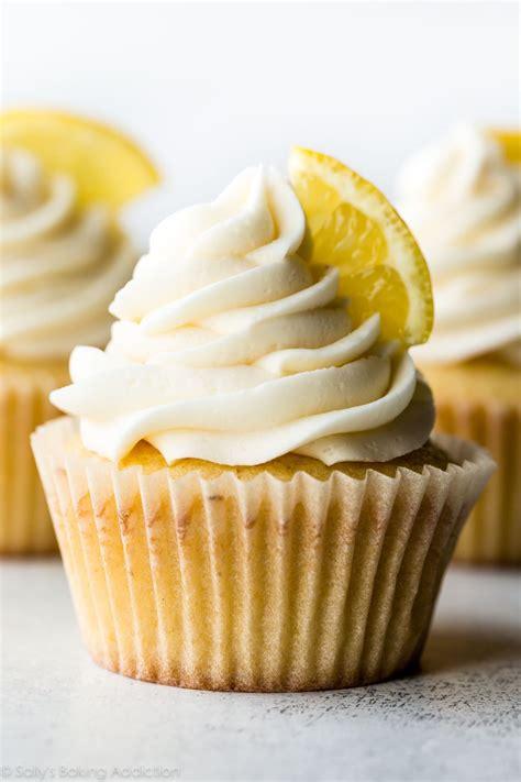 homemade lemon cupcakes  vanilla frosting sallys