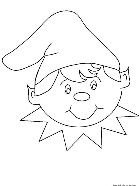 print  christmas elf face cut  coloring pagesfree