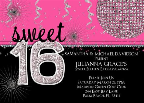 Sweet 16 Birthday Invitation Hot Pink Custom and Printable
