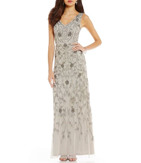 sleeveless evening gown papell sleeveless beaded gown dillards