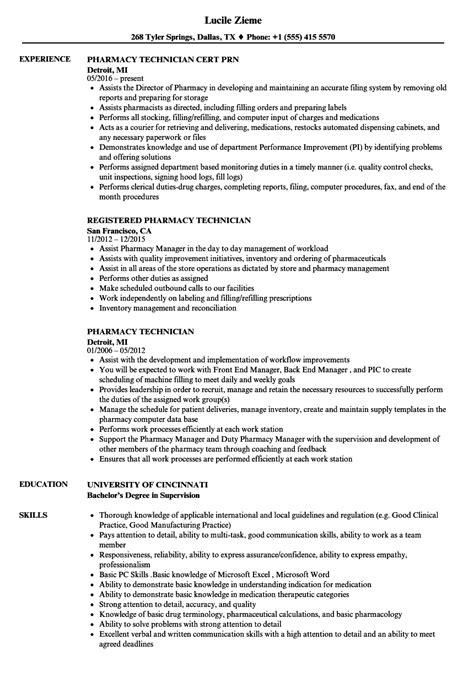 Resume For Pharmacy Technician by Pharmacy Technician Resume Sles Velvet