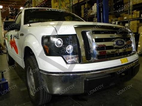 09 11 ford f150 black dual halo projector led headlights