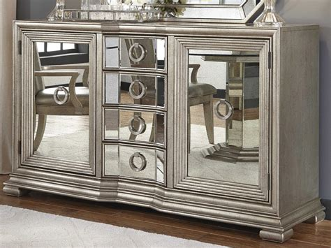 Sideboards And Buffets by Pulaski Couture Silver Rectangular Sideboard Mirror Set