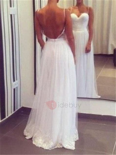 Casual Spaghetti Straps A Line Backless Beach  Ee  Wedding Ee
