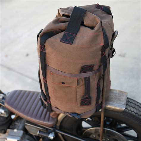 heavy duty bed m a g highway motorcycle sissy bar bag brown canvas