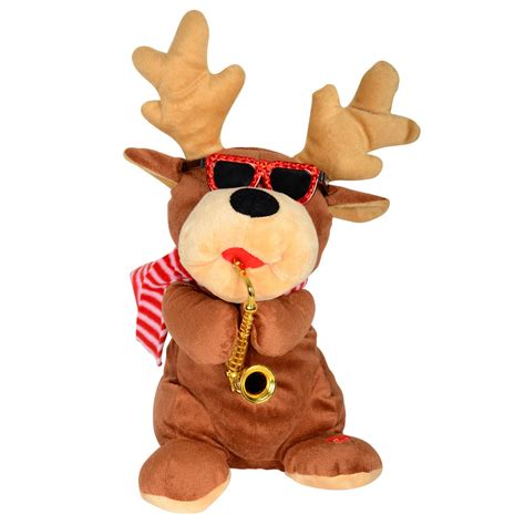 animated musical plush reindeer with saxophone