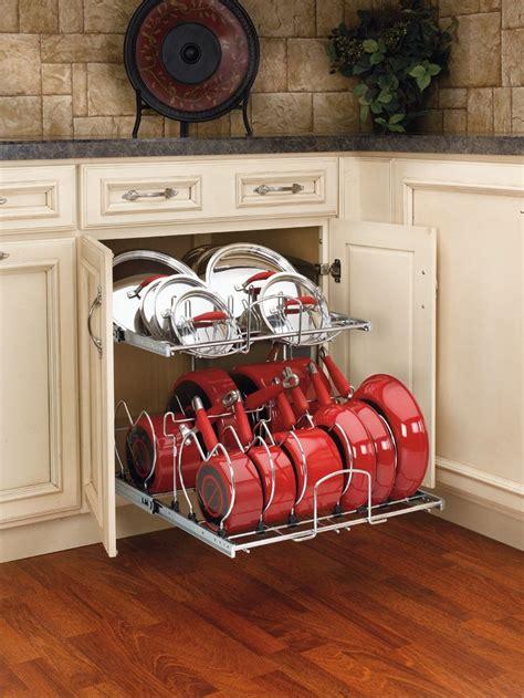 pots pans organizer pull cabinet kitchen organizers pan storage pot organization drawer diy build rev shelf