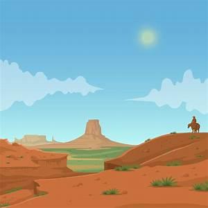 western desert cartoon cowboy background material, West ...