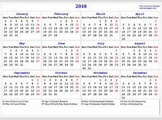 2018 CALENDAR UK 2018 Calendar printable for Free