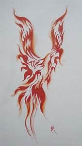 Tribal Fire Flame Phoenix Tattoo Design