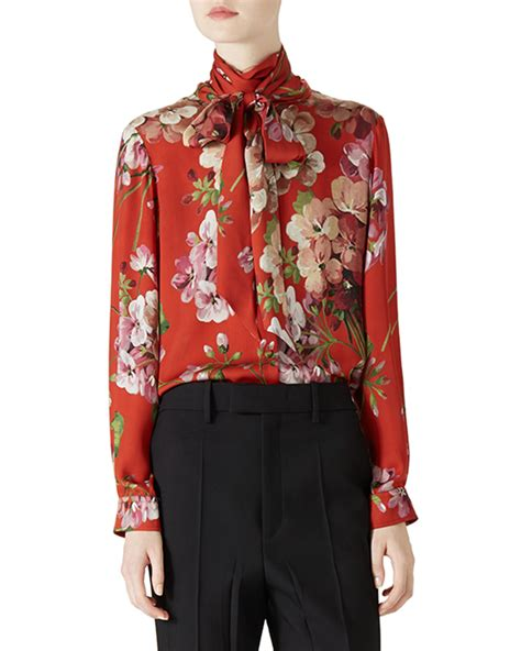 gucci blouse gucci floral print blouse in coral multi lyst