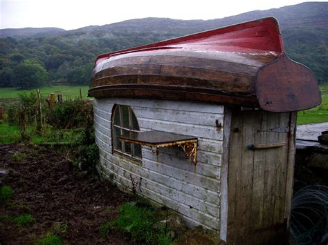 boat shed shed with wooden hull for roof