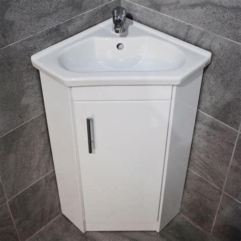 Corner Bathroom Sink Vanity Units by Corner Vanity Unit Bathroom Sink Basin Storage White Gloss