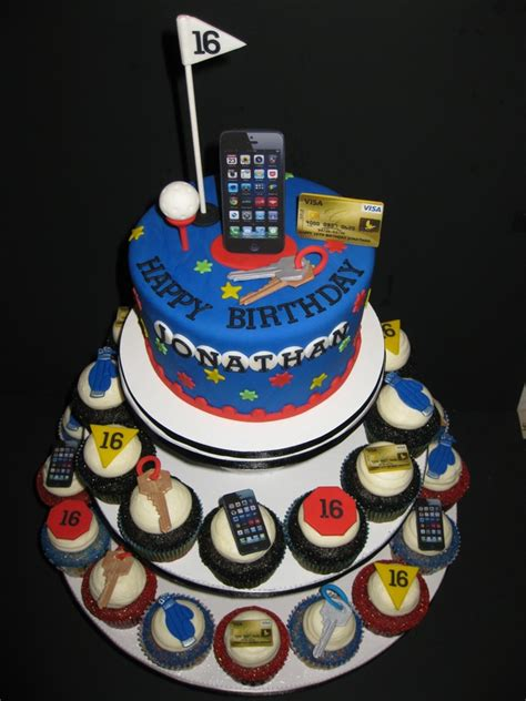 Create happy 16th birthday cake with name and photo of the celebrant. Jonathan's 16th Birthday Cake & Cupcakes