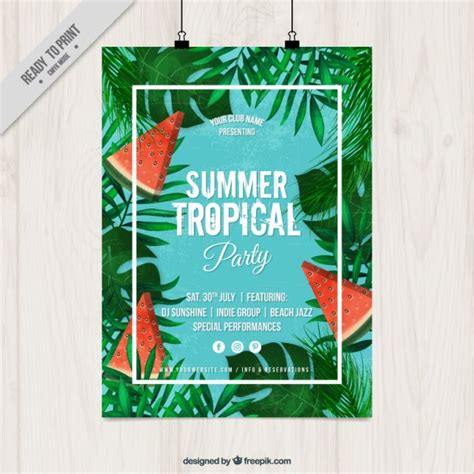 tropical poster template summer tropical party poster vector free download