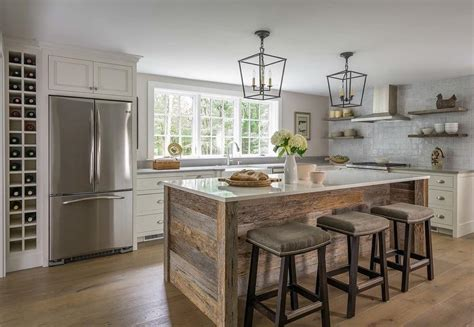 island  barn wood planks transitional kitchen
